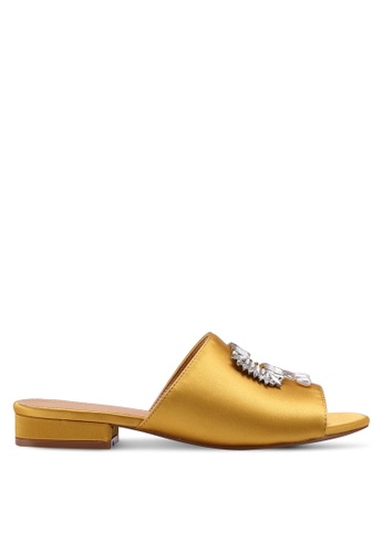 Public Desire yellow and gold Snob Silver Buckle Detail Slides E9783SH1139C35GS_1