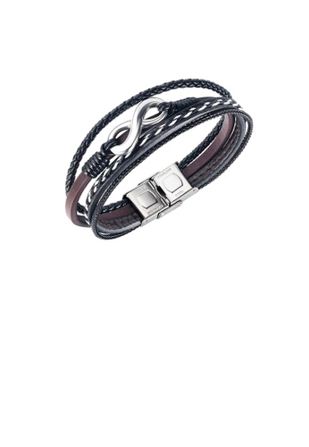 Glamorousky silver Fashion and Simple 316L Stainless Steel Unlimited Symbol Multilayer Leather Bracelet E7283AC05C39DEGS_1