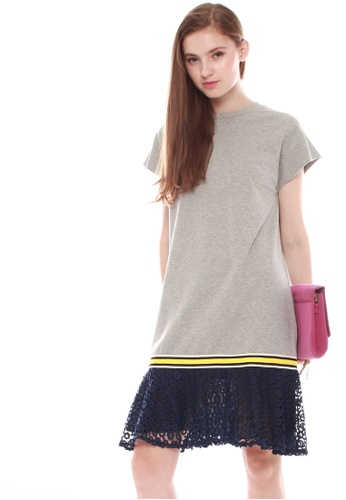JOVET grey Lace Hem Dress 22B1AAA6151A7AGS_1