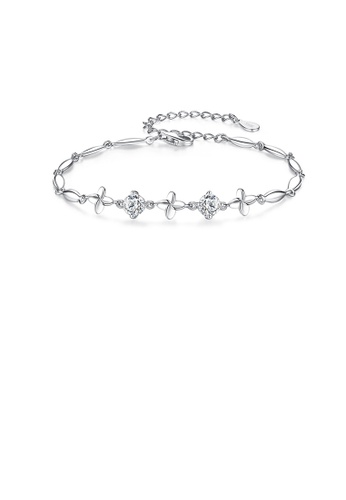 Glamorousky white 925 Sterling Silver Fashion and Elegant Four-leaf Clover Bracelet with Cubic Zirconia E3A29AC3507224GS_1
