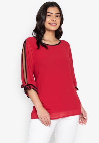 CIGNAL red Split Sleeve Blouse w/ Cuff Tie 22693AAA322880GS_1