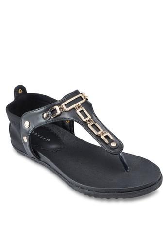 閃鑽T 字帶平底涼鞋, 女鞋zalora 衣服評價, 鞋
