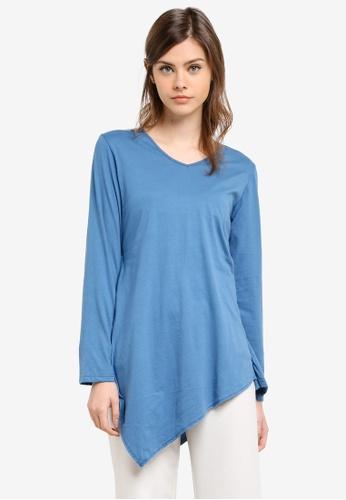 Aqeela Muslimah Wear blue Handkerchief Top AQ371AA0S4V8MY_1