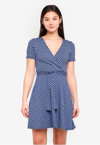 Dorothy Perkins 海軍藍色 Navy Geometric Wrap Dress 59B00AA8A43B50GS_1