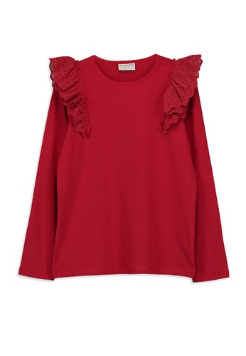 LC Waikiki red Girl's Ruffled Cotton T-Shirt 6D38DKA41CC2D6GS_1