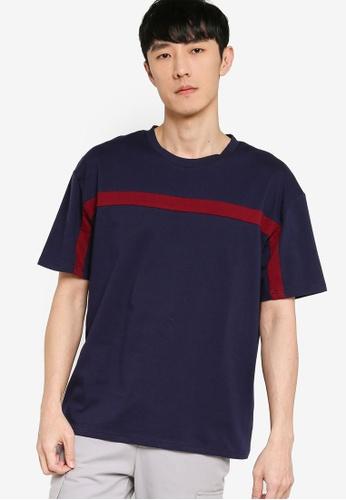 ZALORA BASICS red and navy Contrast Trim Oversized T-Shirt 42FE8AA9F2C889GS_1