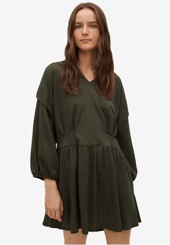 Mango green Flowy Pleated Dress 515E3AAEE2F232GS_1