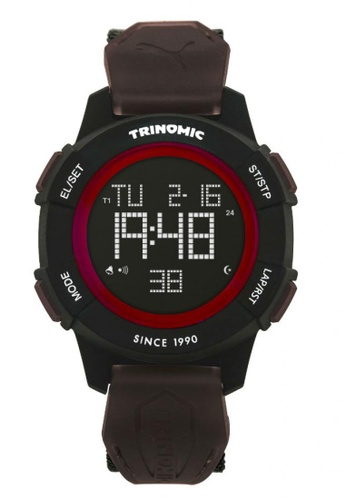 Puma brown PU911271003 Trinomic Red Brown Nato Strap Digital Men Watch PU549AC0RKGMMY_1