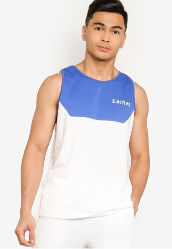 ZALORA ACTIVE blue Active Contrast Panel Tank Top 8EED3AA9EF14AEGS_1
