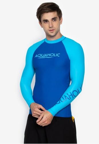 Aquaholic blue Austin Long Sleeve Raglan Rashguard A49DAUSF074BEBGS_1