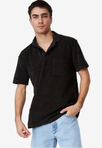 Cotton On black Textured Polo Shirt 25D64AA3399DA8GS_1