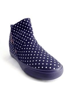 Hidden Wedge Zip Closure Boots Sneakers With Polka Dots Design