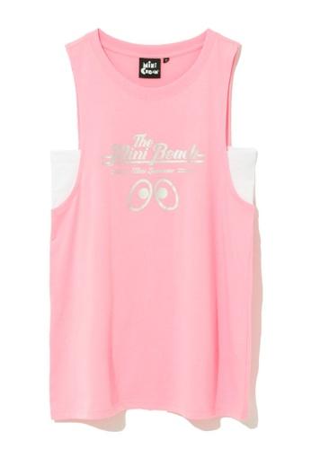 "Mini cream pink ""The Mini Beach"" tank top 4B3EEAACFA9576GS_1"