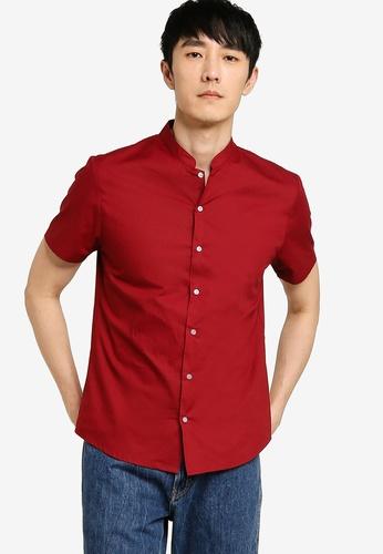 ZALORA BASICS red Mandarin Collar Shirt 04889AA91DA716GS_1