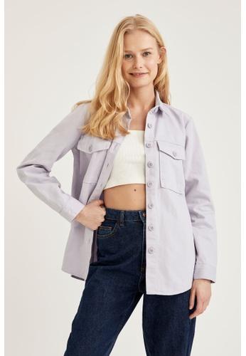 DeFacto purple Woman Woven Long Sleeve Shirt AF020AA41FF378GS_1