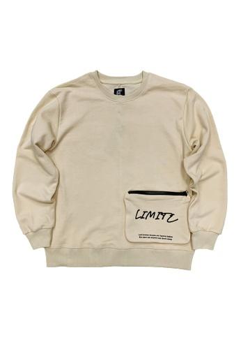 L.I.M.I.T.E white Men's Sweat Shirt with Zipper Pocket AC5AAAA4D2E21EGS_1