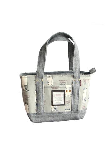 LULUGIFT grey Lulugift Neko Maruke Kusuguru Shippo Handbag Light Grey LU989AC0RFSGMY_1