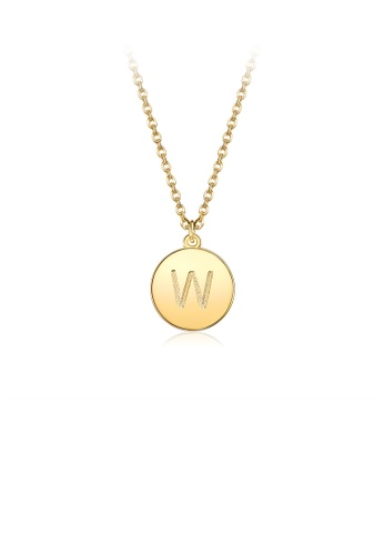 Glamorousky silver Fashion Simple Plated Gold Letter W Round Pendant with Necklace 023B2AC68A68C1GS_1