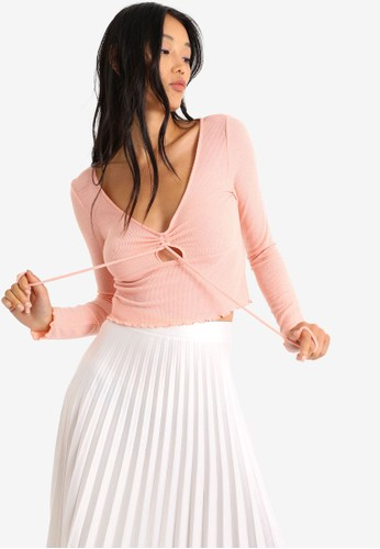 PIMKIE pink Cutout Tie Front Long Sleeve Crop Top 273F6AA2A15A27GS_1