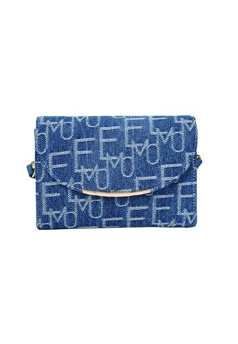 EMO blue Korean fashion Brand‧Handheld‧Shoulder‧Denim Smiling face Bag - Light Blue 76DADAC8307A48GS_1