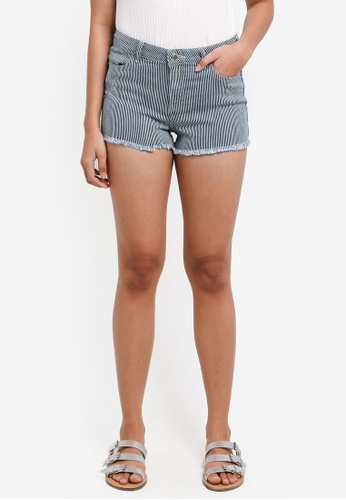 Miss Selfridge blue Ticking Striped Shorts F0646AA2F496F3GS_1
