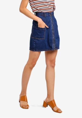 ZALORA 藍色 口袋 丹寧 Skirt DC17CAAB2AAEB4GS_1