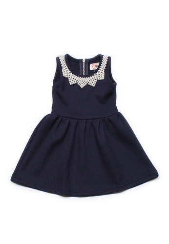 Mini Moley navy Faux Pearl Neckline Girl's Dress EEECAKA3CC9C16GS_1
