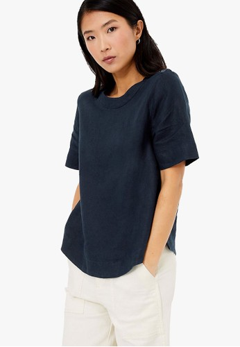 MARKS & SPENCER navy Pure Linen Button Detailed Blouse C541DAAE3EC472GS_1