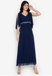 CIGNAL navy V-Neck Gown 48840AAEEF06A1GS_1