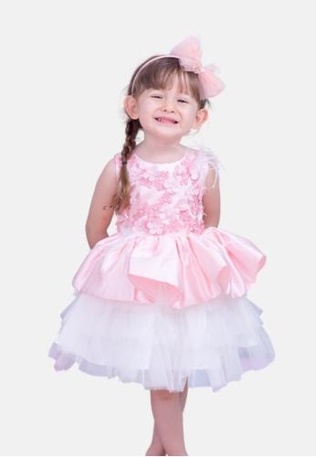 LASSIE & LADDIE pink Zuri Occasion Satin & Tulle Dress with Floral Appliqué 03255KAC7307C9GS_1