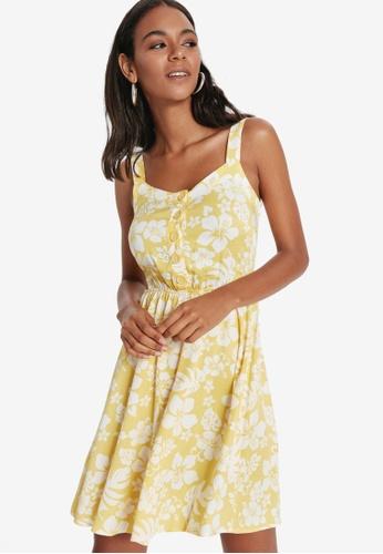 LC Waikiki yellow Floral Strappy Viscose Dress 3994EAAEB41CB5GS_1