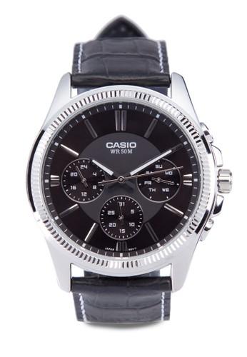 MTP-1375L-1AVDF 多功能真皮手錶, 錶esprit專櫃類, 皮革錶帶