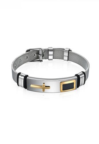 HAPPY FRIDAYS Titanium Steel Cross Mesh Bracelet JW QF-SL040 640F7AC3FD3D4DGS_1