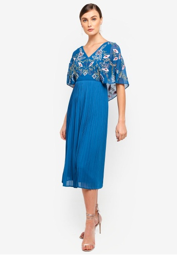Frock and Frill blue Frock And Frill Bina Embroidered Top Pleated Midi Dress 024F5AA1392C58GS_1