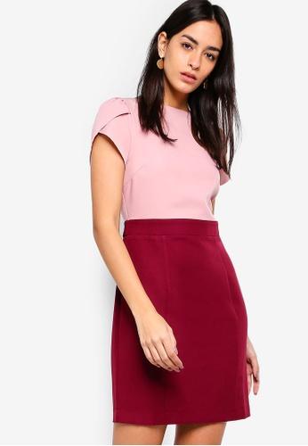 ZALORA red Petal Sleeves Color Block Dress 2E52BAA88314E0GS_1