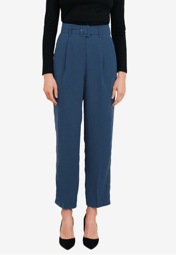 FORCAST blue Mula High-Waist Belted Pants 67286AAFD931DAGS_1