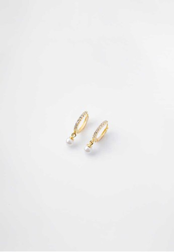 AEROCULATA Aeroculata Aster Hoop Earrings Anting Pearl 925 Sterling Silver Gold EC6C2AC4030F1BGS_1