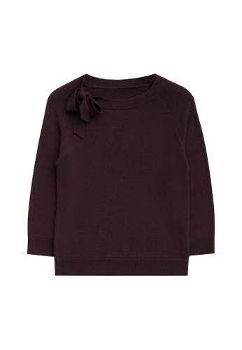 KLAPS brown Ribbon Embellished Sweater F0B6CAAF203F9DGS_1