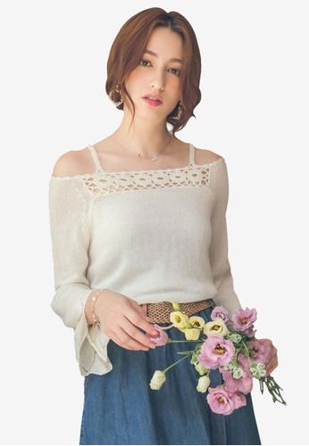 Yoco white Cutout Knit Top C0A7AAAA7328C9GS_1