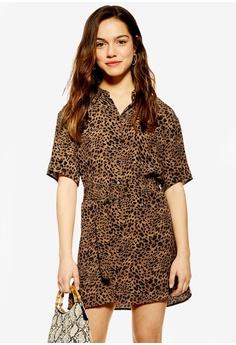 1a715228b13 TOPSHOP brown Petite Animal Shirt Dress 1454EAA2C875A0GS 1