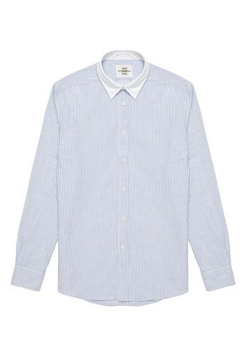 Kent and Curwen blue Stripes Casual Shirt D4BB2AA1B62847GS_1