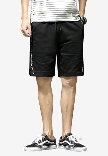 hk-ehunter 黑色 男士中腰運動短褲 1B943AADB9B80CGS_1