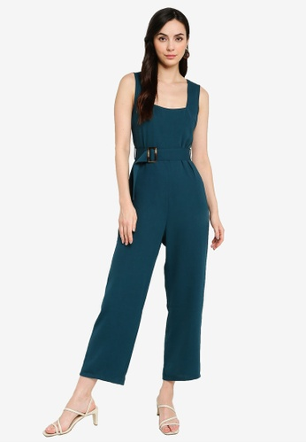 ZALORA WORK green Square Neck Belted Jumpsuit AF7ECAA5EB3160GS_1
