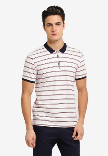 JAXON white Stripe Ring Zipper Polo Shirt 399ABAA13A51BDGS_1