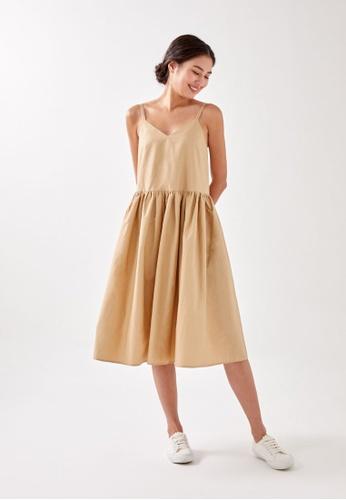 Love, Bonito brown Jolei Strappy Ruched Midaxi Dress BF6F5AA3B633E5GS_1
