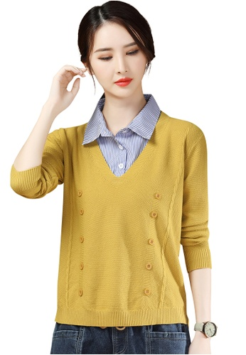 A-IN GIRLS yellow and blue Two-Layers Striped Stitching Sweater 4D7D5AAE892D58GS_1