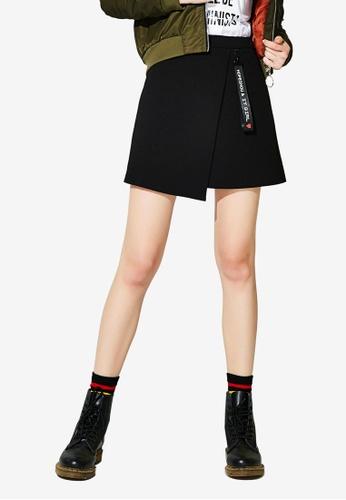 Hopeshow black Overlap Mini Skirt with Strap BE790AA3608349GS_1