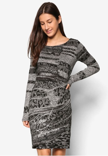 印花長袖esprit 兼職連身裙, 服飾, 洋裝