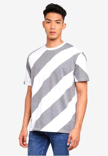 Topman grey Grey Stripe T-Shirt E8F7AAAE2A95C7GS_1