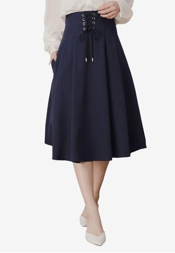 Kodz blue Tie Front A-Line Midi Skirt C343FAADFD471BGS_1
